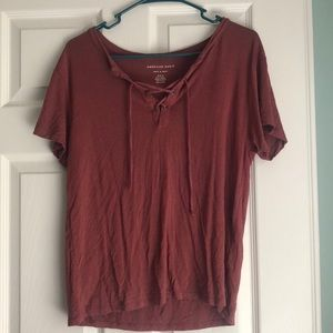 American Eagle Lace Up Soft & Sexy Tee
